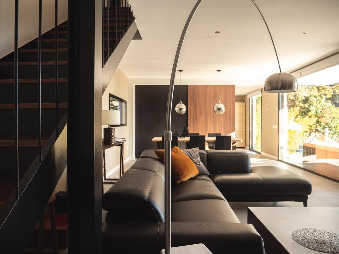 salon comedor vivienda modular hormigon